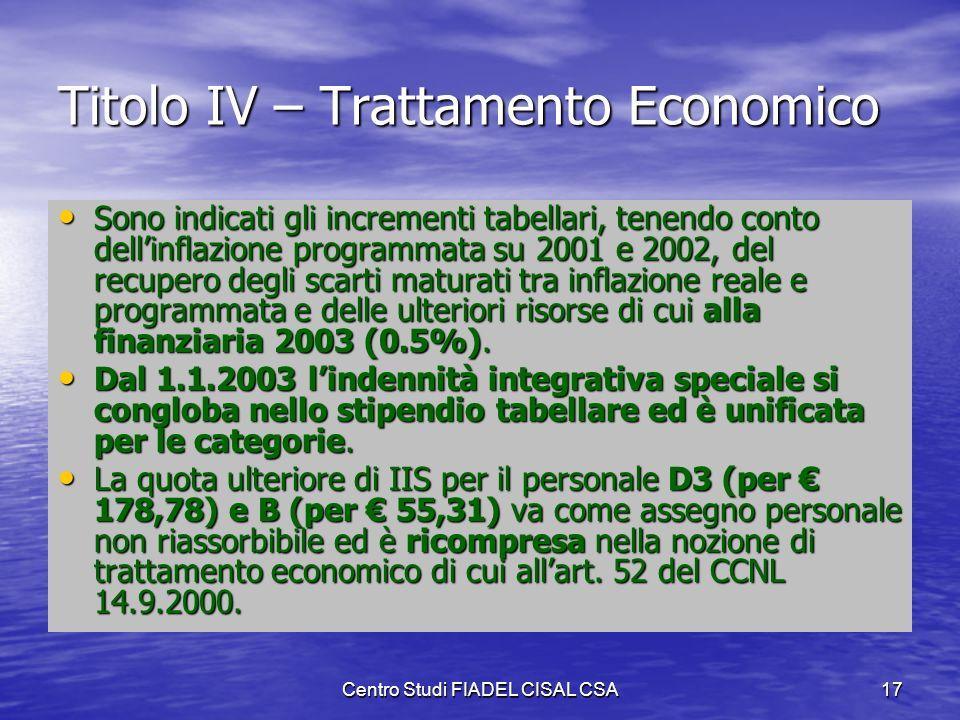 Titolo IV – Trattamento Economico