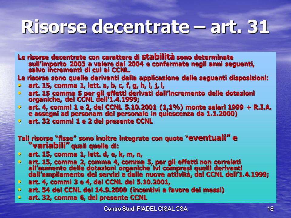 Risorse decentrate – art. 31