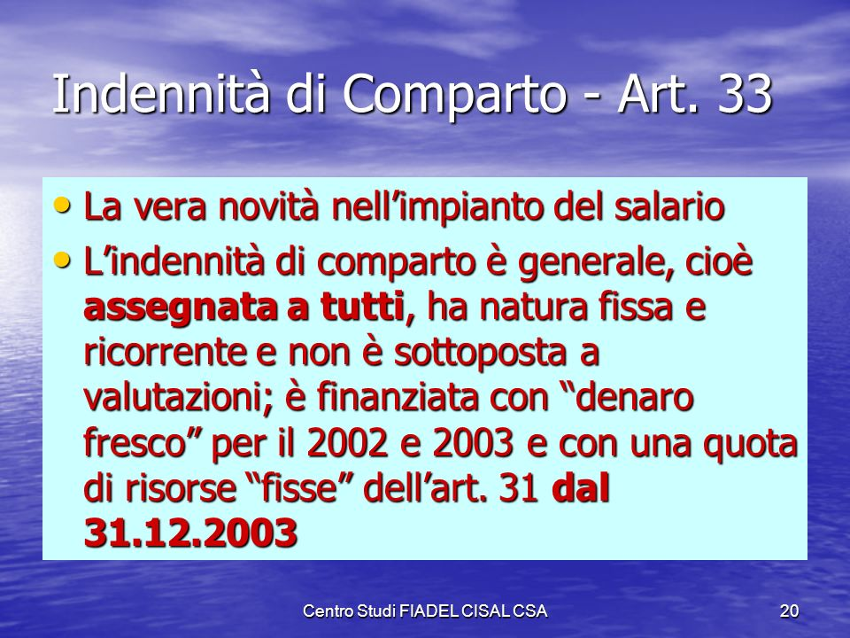 Indennità di Comparto - Art. 33