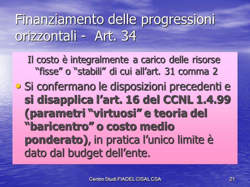 Finanziamento delle progressioni orizzontali - Art. 34