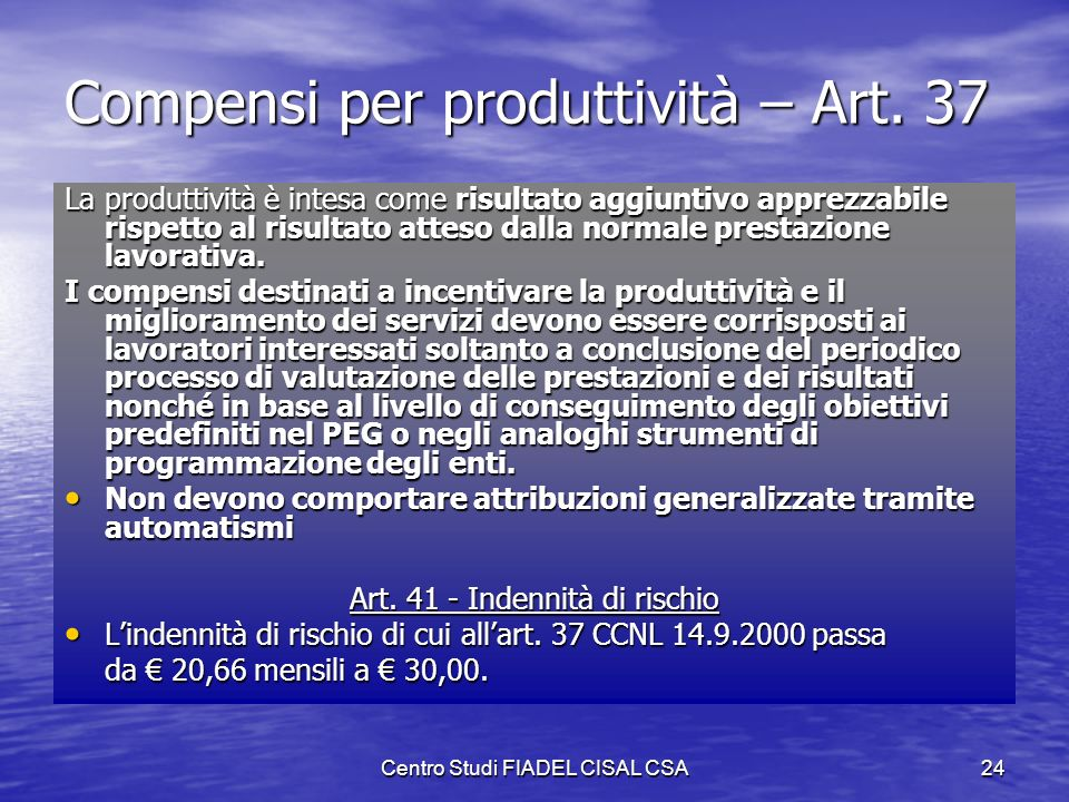Compensi per produttività – Art. 37