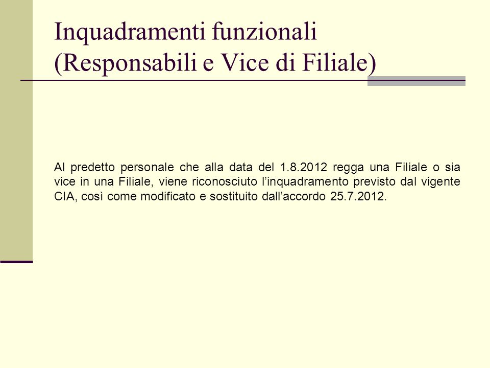 Inquadramenti funzionali (Responsabili e Vice di Filiale)