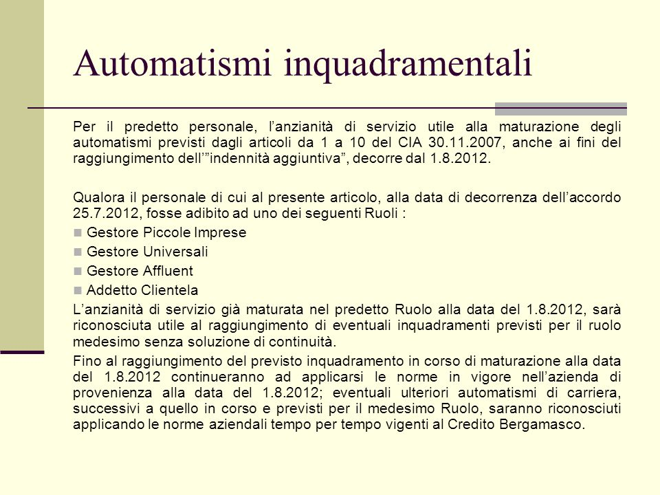 Automatismi inquadramentali