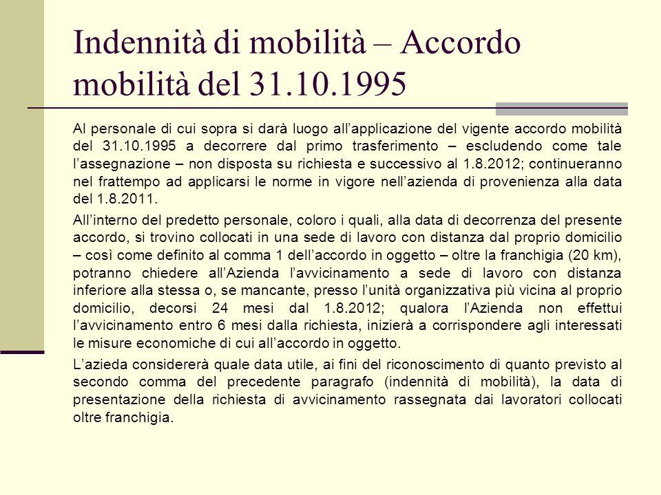 Indennità di mobilità – Accordo mobilità del 31.10.1995