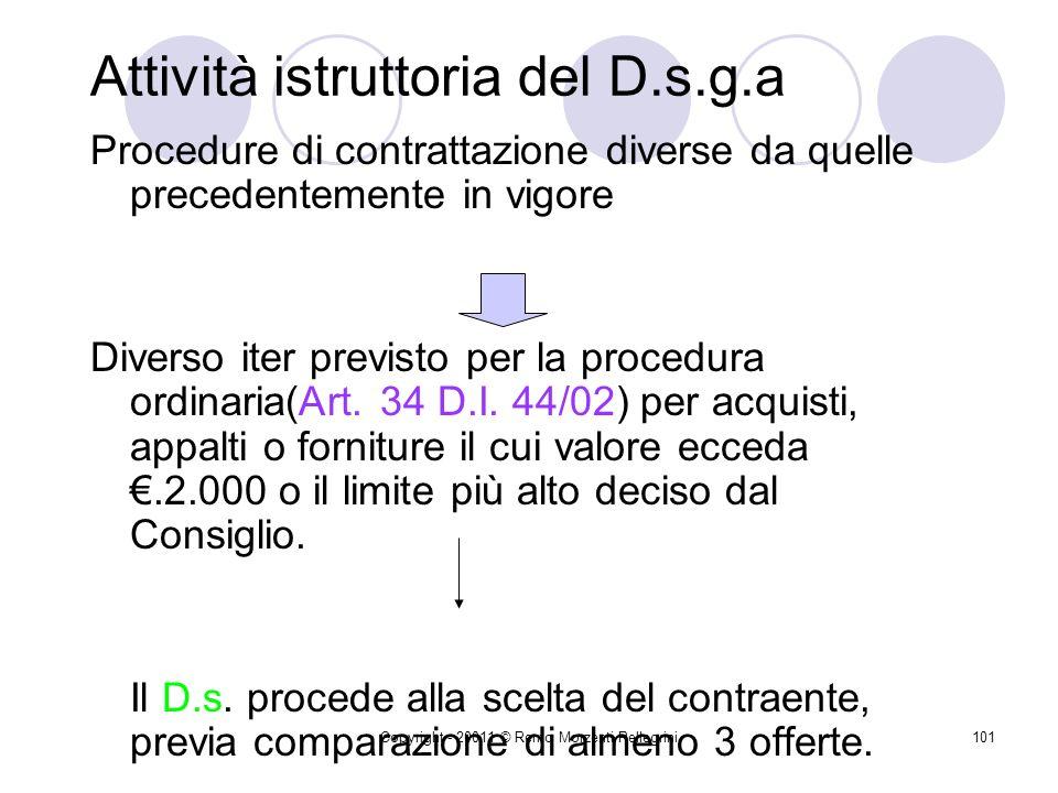 Attività istruttoria del D.s.g.a