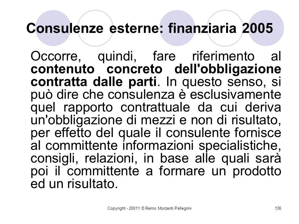 Consulenze esterne: finanziaria 2005