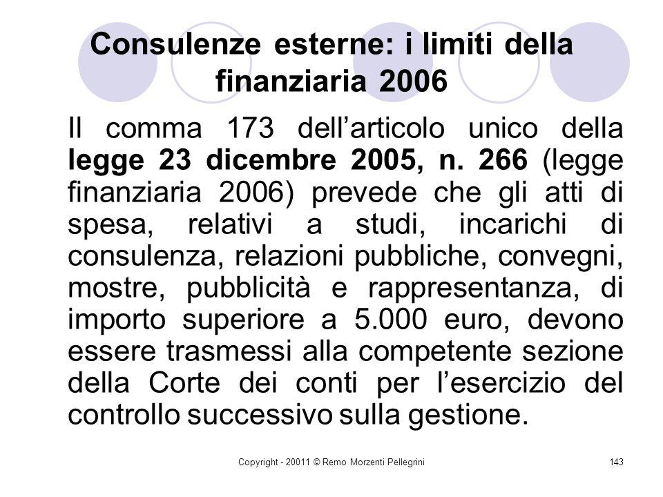 Consulenze esterne: i limiti della finanziaria 2006