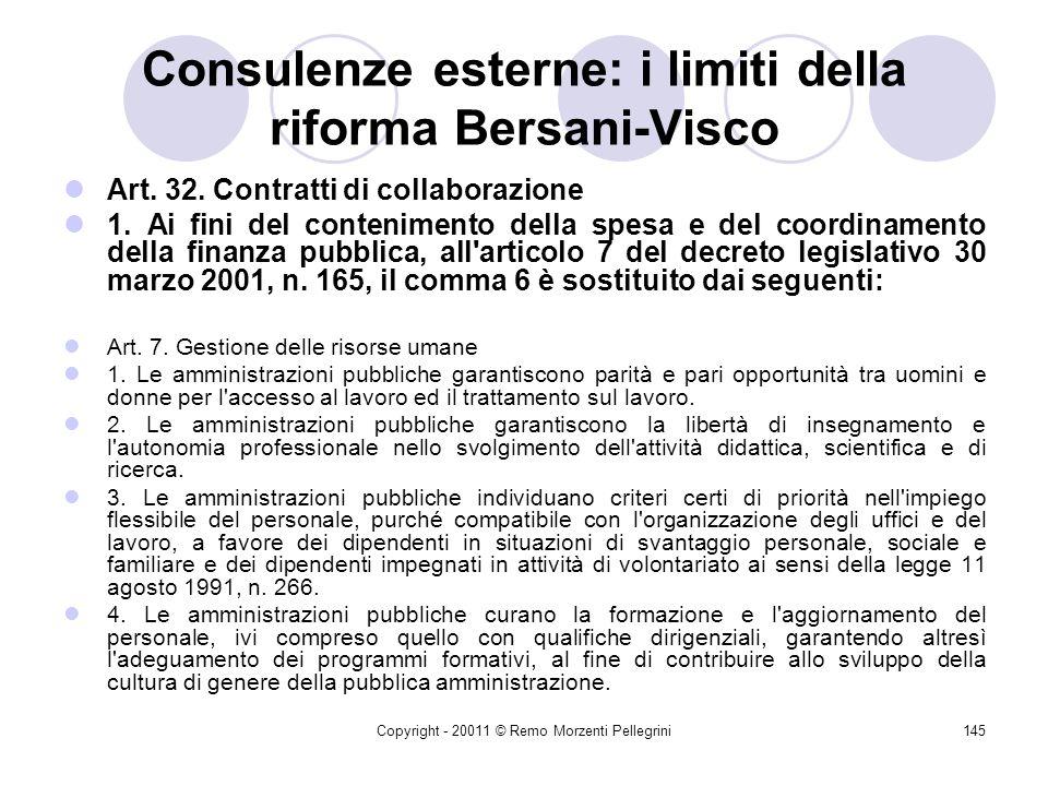 Consulenze esterne: i limiti della riforma Bersani-Visco