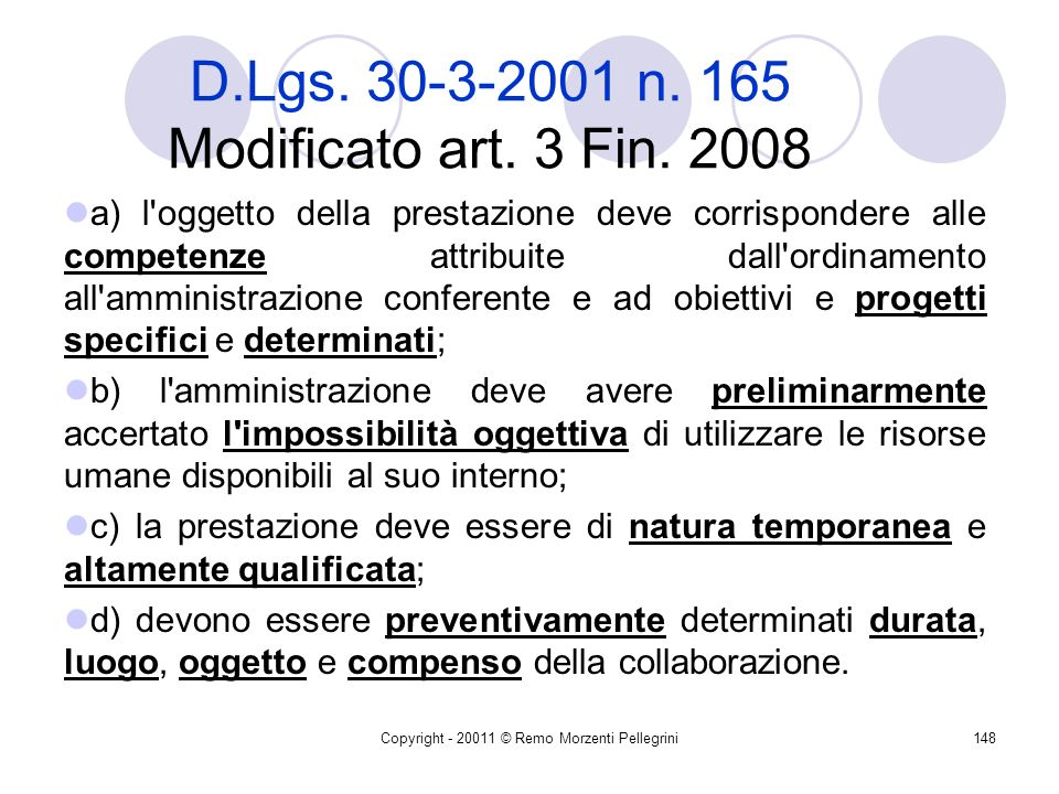 D.Lgs. 30-3-2001 n. 165 Modificato art. 3 Fin. 2008