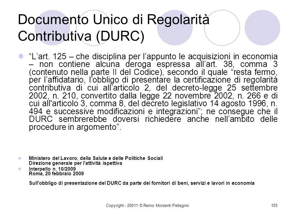Documento Unico di Regolarità Contributiva (DURC)