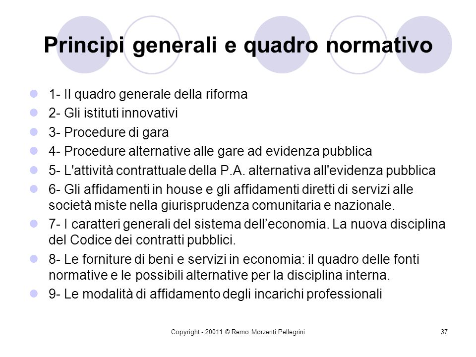 Principi generali e quadro normativo