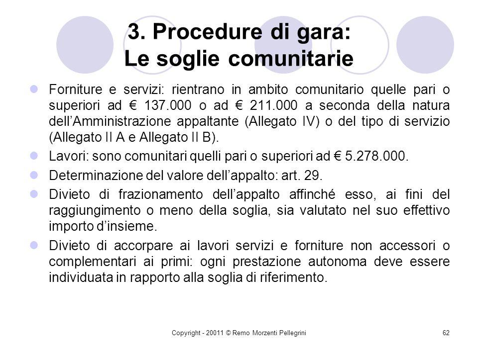 3. Procedure di gara: Le soglie comunitarie