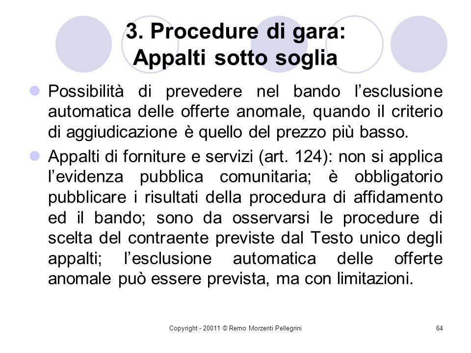 3. Procedure di gara: Appalti sotto soglia