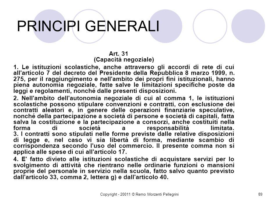 PRINCIPI GENERALI Art. 31 (Capacità negoziale)