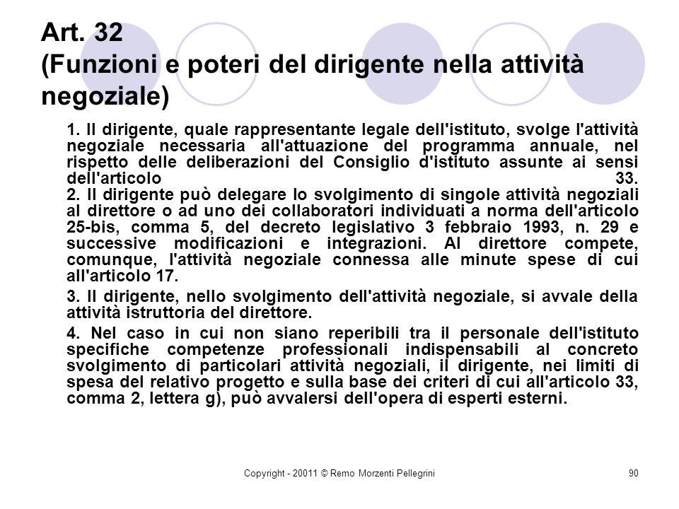 Art. 32 (Funzioni e poteri del dirigente nella attività negoziale)