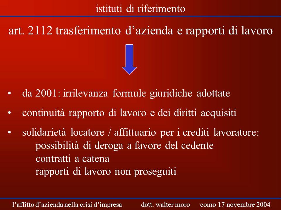 art. 2112 trasferimento d'azienda e rapporti di lavoro