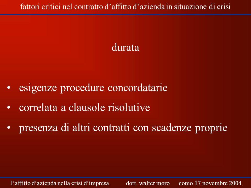 esigenze procedure concordatarie correlata a clausole risolutive