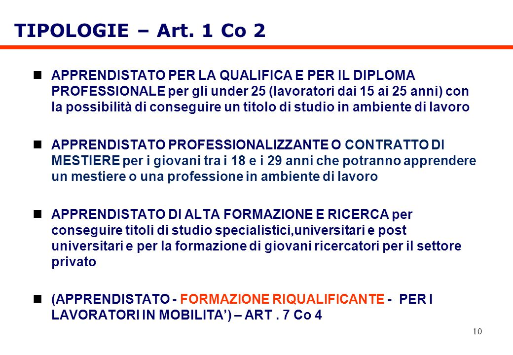 TIPOLOGIE – Art. 1 Co 2
