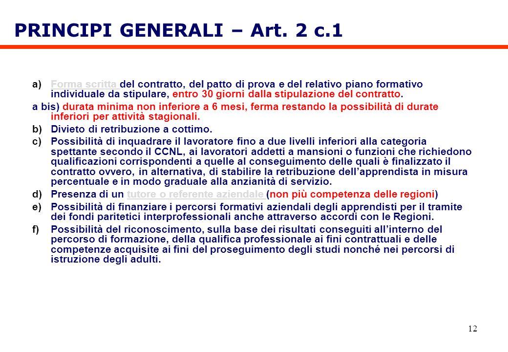 PRINCIPI GENERALI – Art. 2 c.1