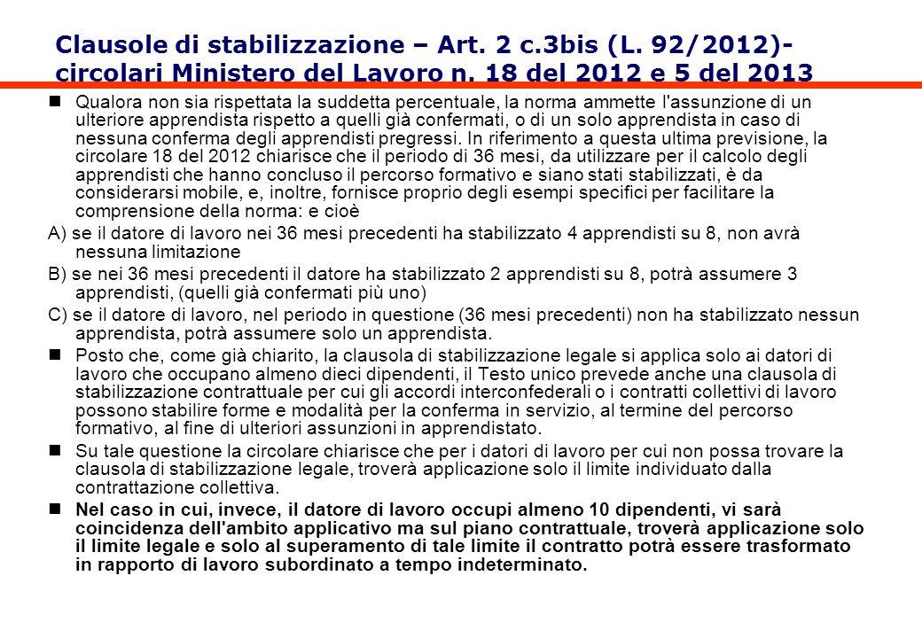 Clausole di stabilizzazione – Art. 2 c. 3bis (L