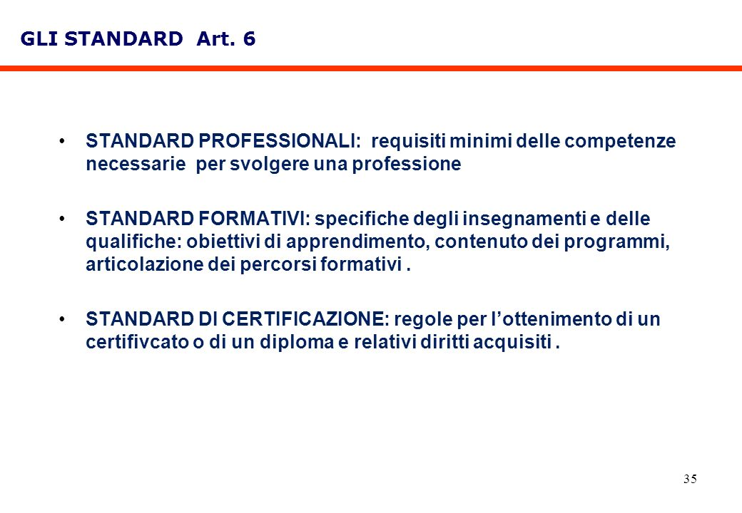 GLI STANDARD Art. 6STANDARD PROFESSIONALI: requisiti minimi delle competenze necessarie per svolgere una professione.