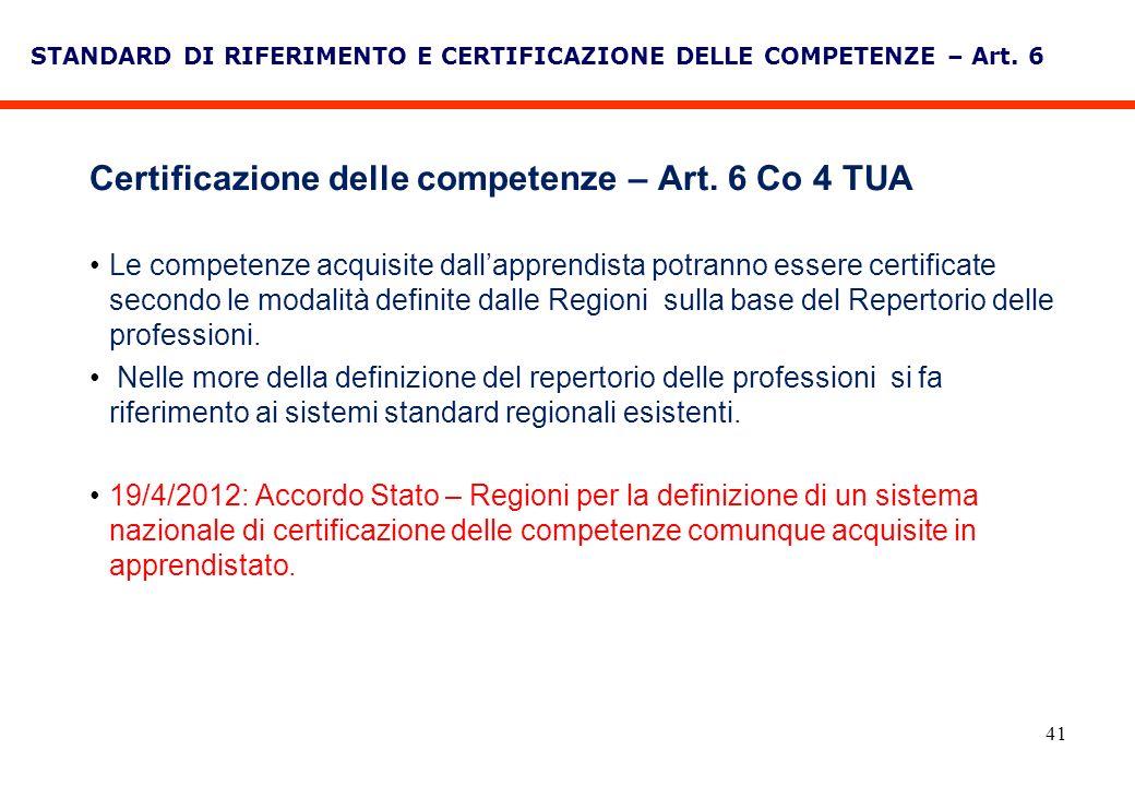 Certificazione delle competenze – Art. 6 Co 4 TUA