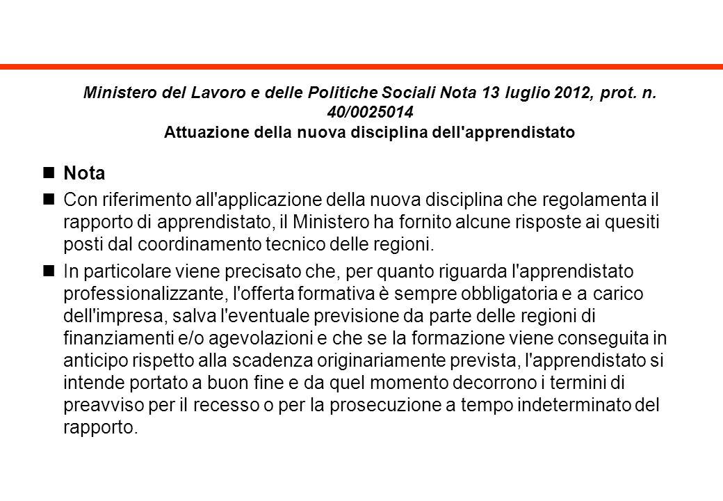Ministero del Lavoro e delle Politiche Sociali Nota 13 luglio 2012, prot. n. 40/0025014 Attuazione della nuova disciplina dell apprendistato
