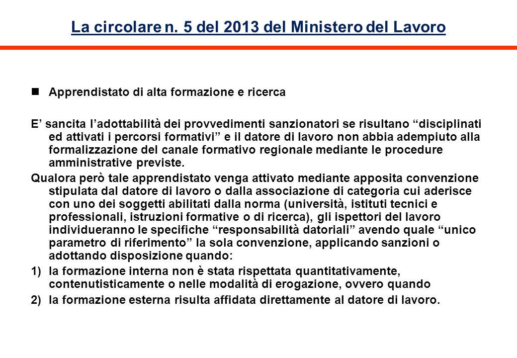 La circolare n. 5 del 2013 del Ministero del Lavoro