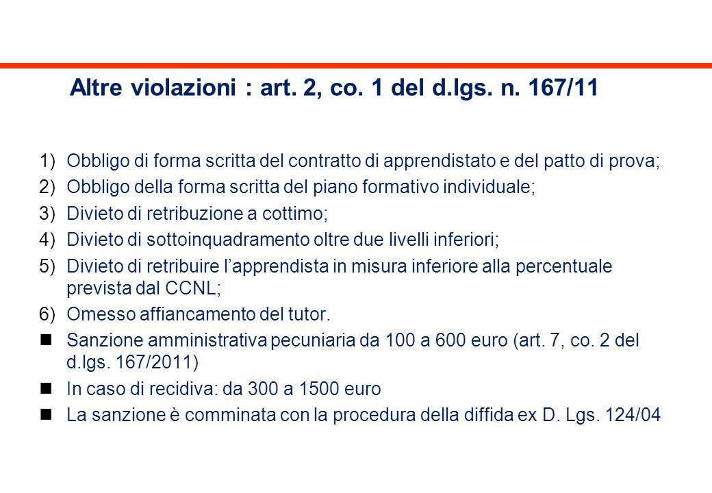 Altre violazioni : art. 2, co. 1 del d.lgs. n. 167/11