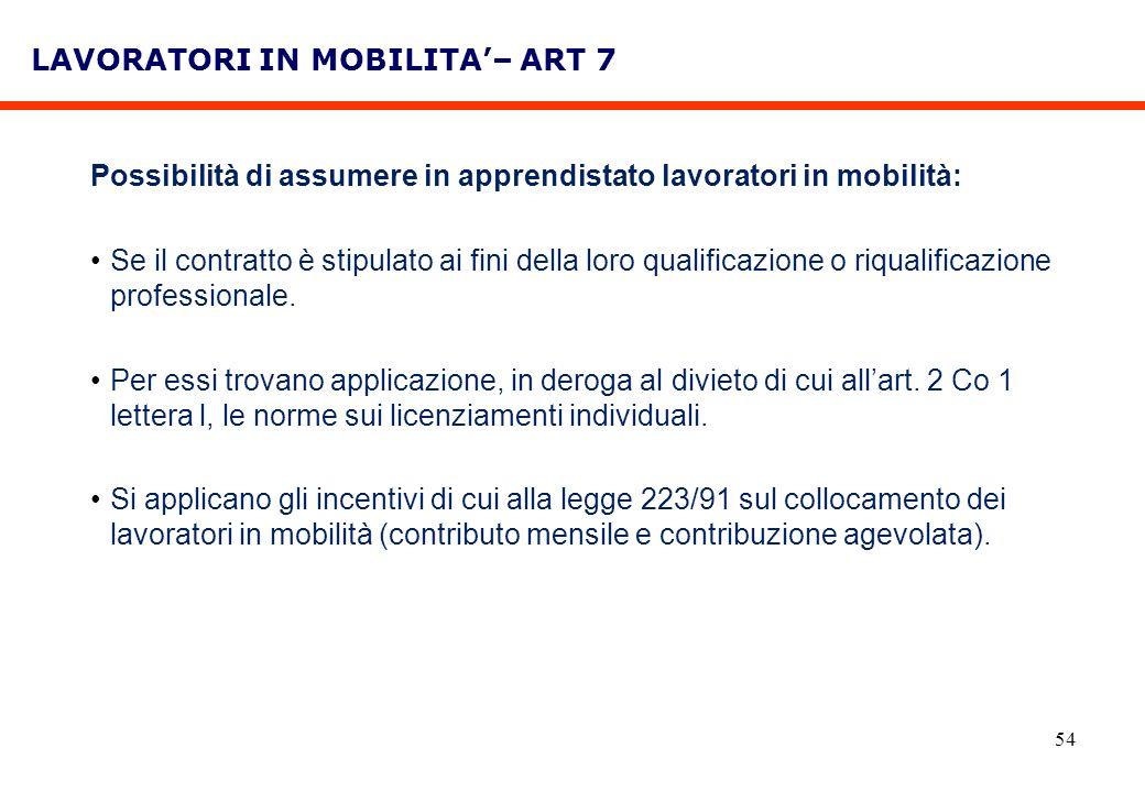 LAVORATORI IN MOBILITA'– ART 7