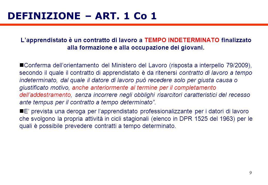 DEFINIZIONE – ART. 1 Co 1 L'apprendistato è un contratto di lavoro a TEMPO INDETERMINATO finalizzato alla formazione e alla occupazione dei giovani.