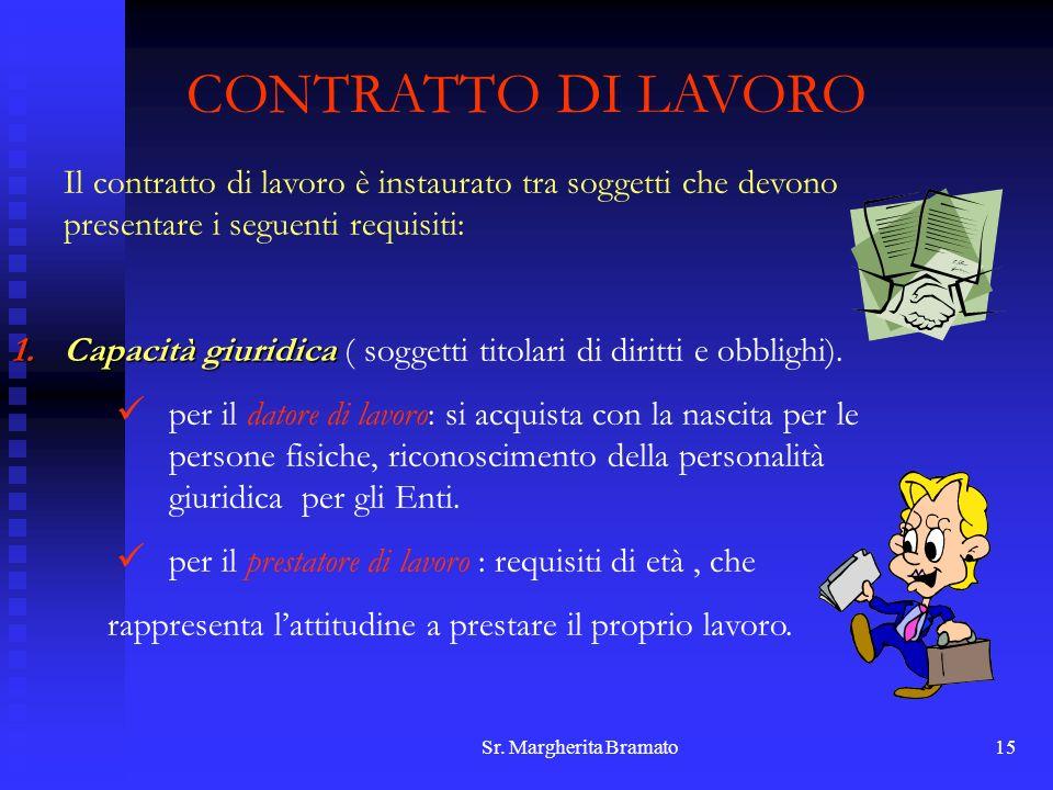 CONTRATTO DI LAVORO Il contratto di lavoro è instaurato tra soggetti che devono presentare i seguenti requisiti: