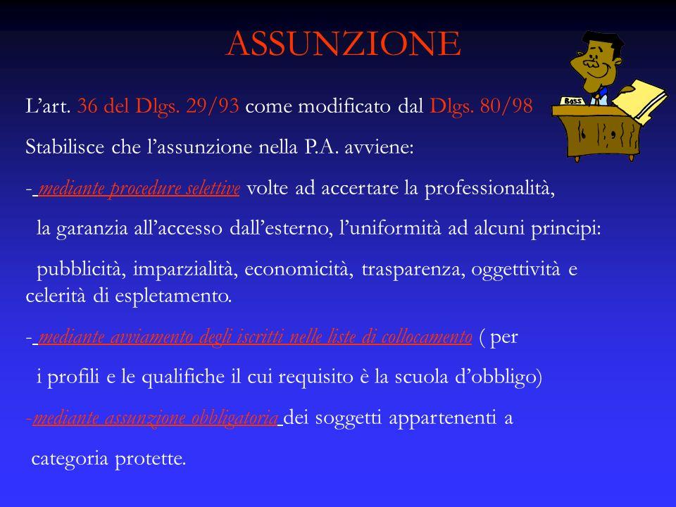 ASSUNZIONE L'art. 36 del Dlgs. 29/93 come modificato dal Dlgs. 80/98