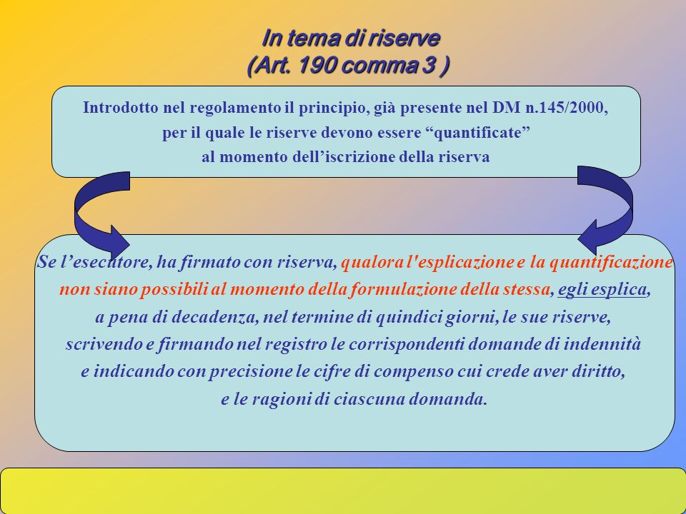 In tema di riserve (Art. 190 comma 3 )