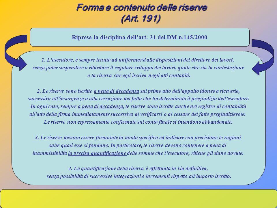 Forma e contenuto delle riserve (Art. 191)