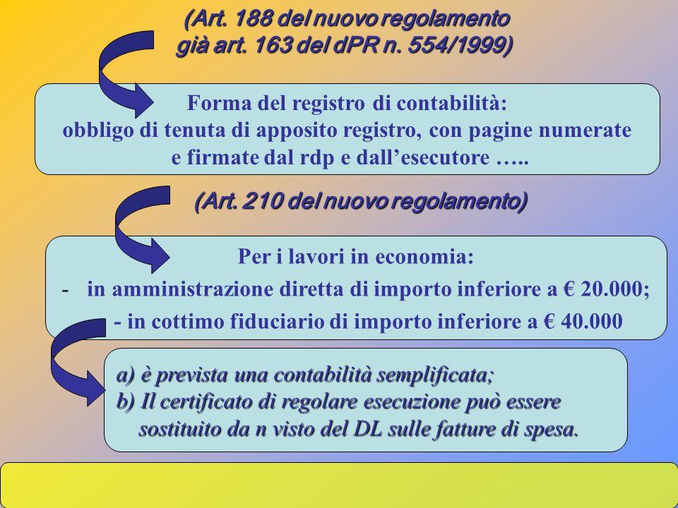 (Art. 188 del nuovo regolamento già art. 163 del dPR n. 554/1999)