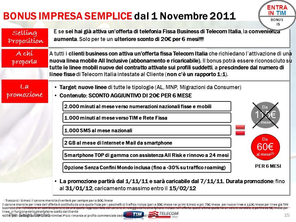 BONUS IMPRESA SEMPLICE dal 1 Novembre 2011