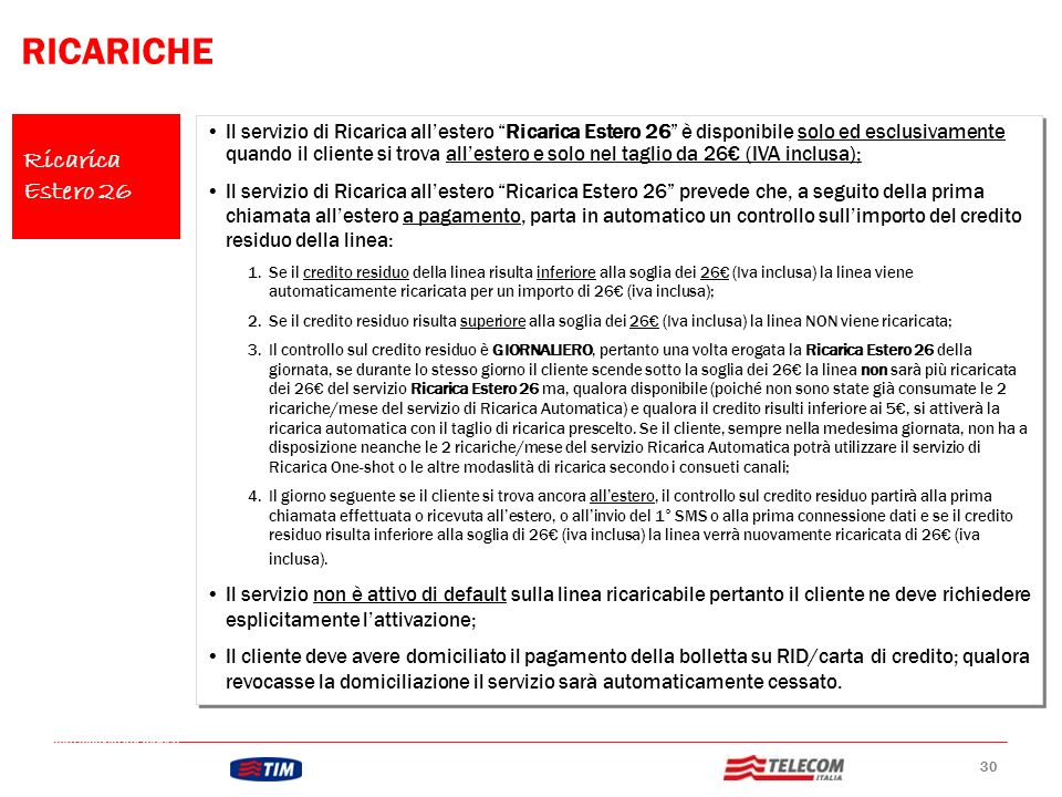 RICARICHE Ricarica Estero 26