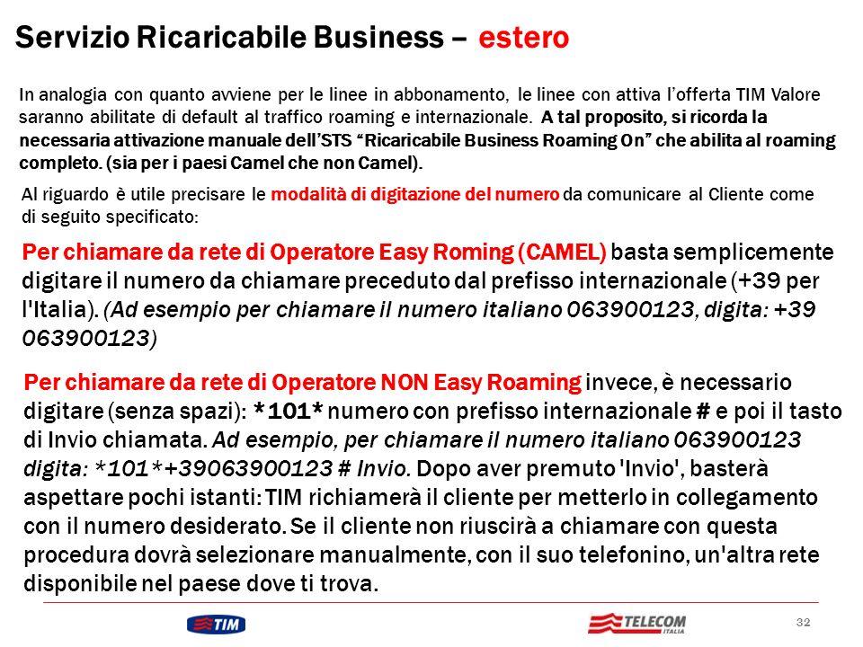 Servizio Ricaricabile Business – estero