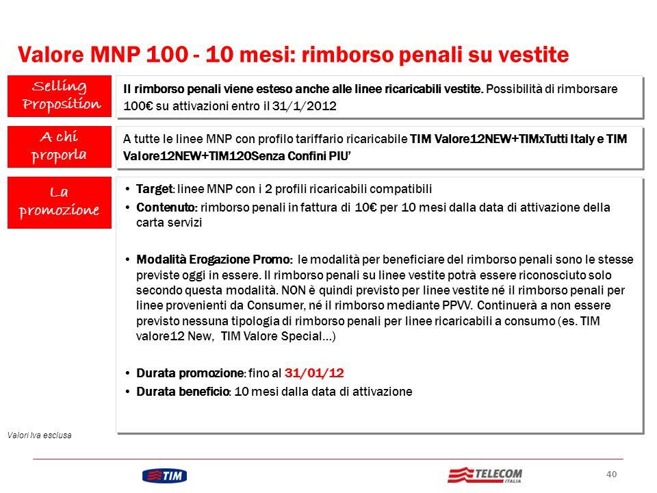 Valore MNP 100 - 10 mesi: rimborso penali su vestite