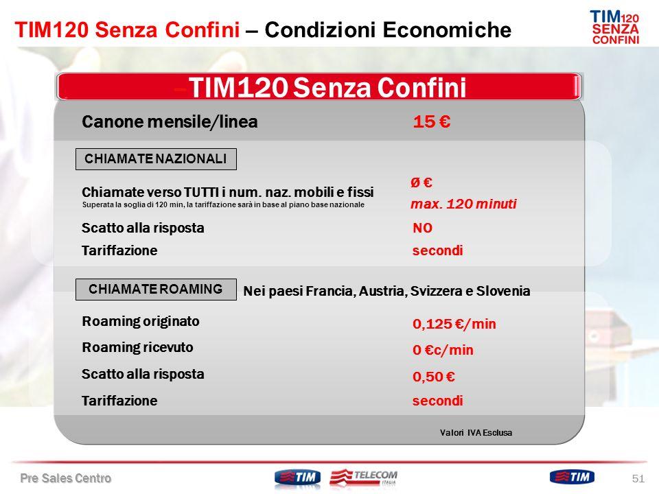 TIM120 Senza Confini – Condizioni Economiche
