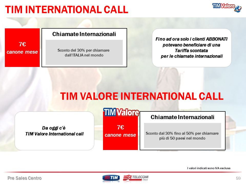 TIM INTERNATIONAL CALL