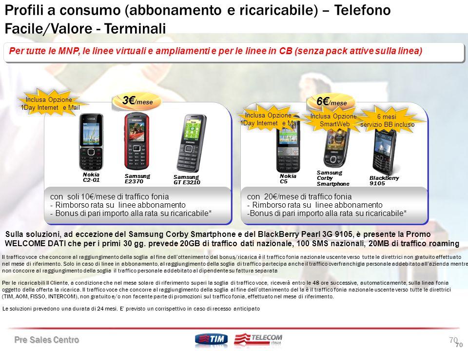 Profili a consumo (abbonamento e ricaricabile) – Telefono Facile/Valore - Terminali
