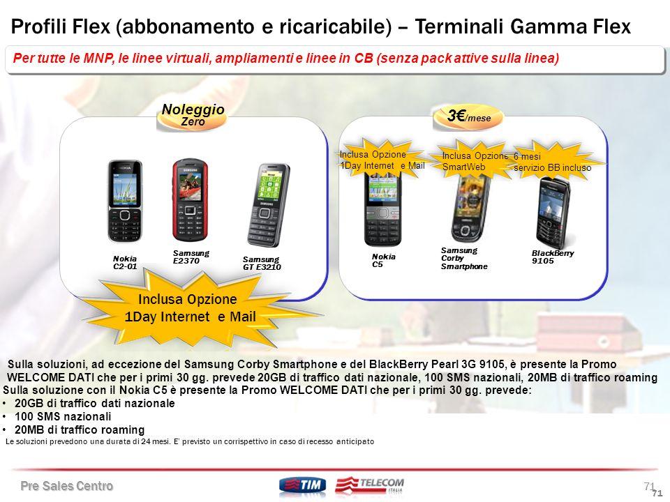 Profili Flex (abbonamento e ricaricabile) – Terminali Gamma Flex