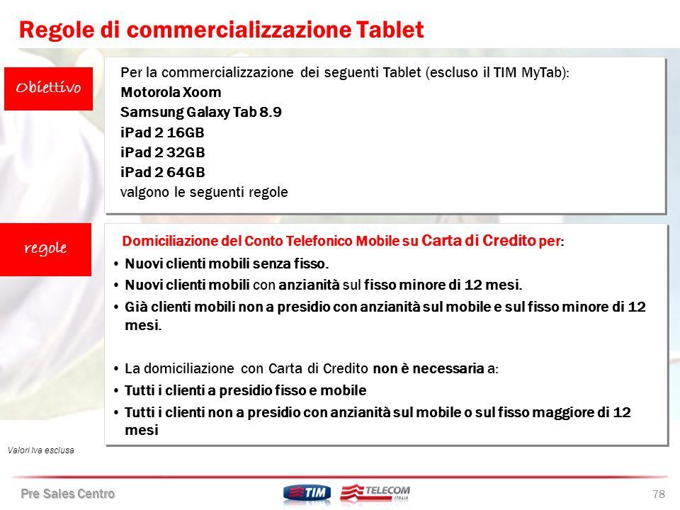 Regole di commercializzazione Tablet