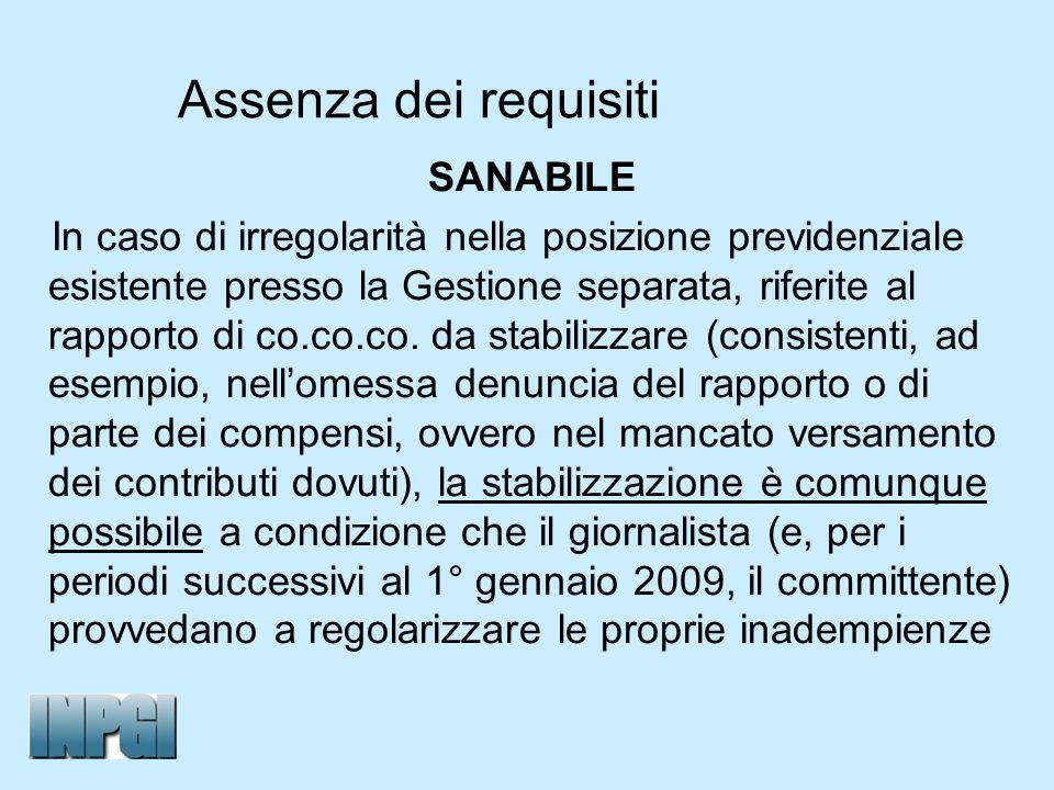 Assenza dei requisiti SANABILE