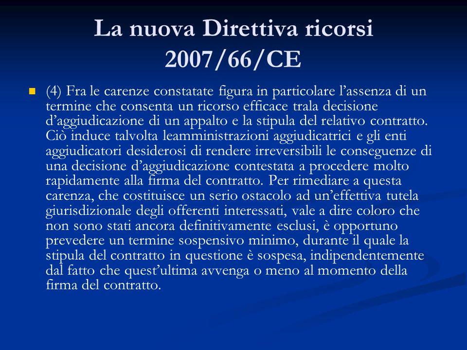 La nuova Direttiva ricorsi 2007/66/CE