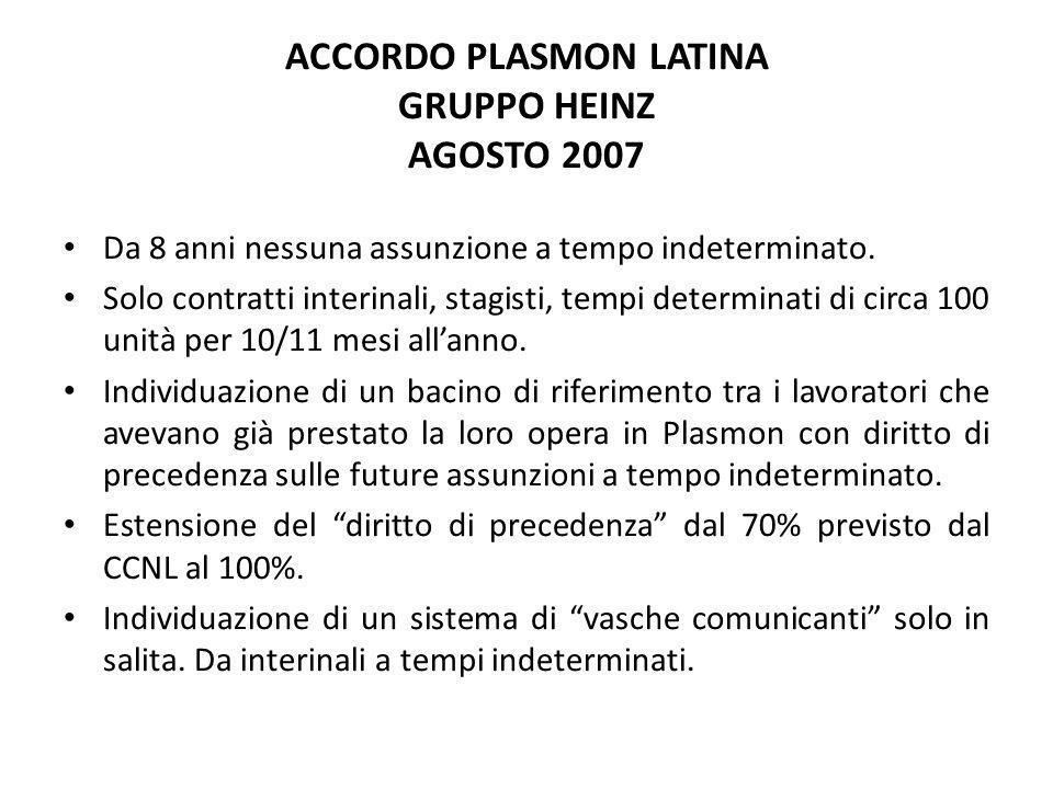 ACCORDO PLASMON LATINA GRUPPO HEINZ AGOSTO 2007