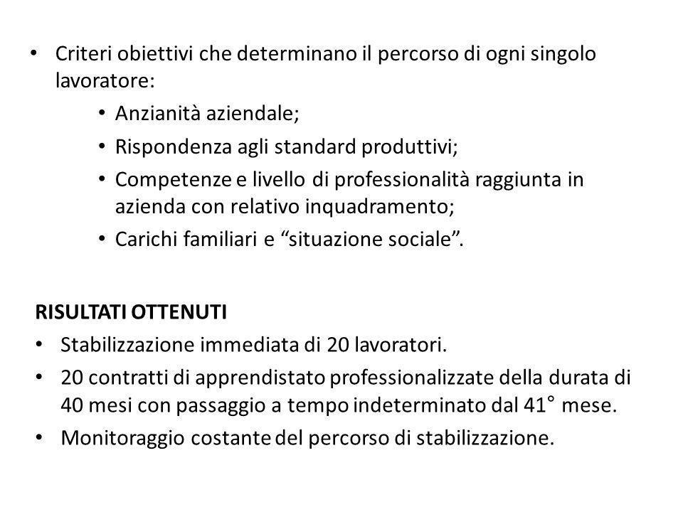 Criteri obiettivi che determinano il percorso di ogni singolo lavoratore: