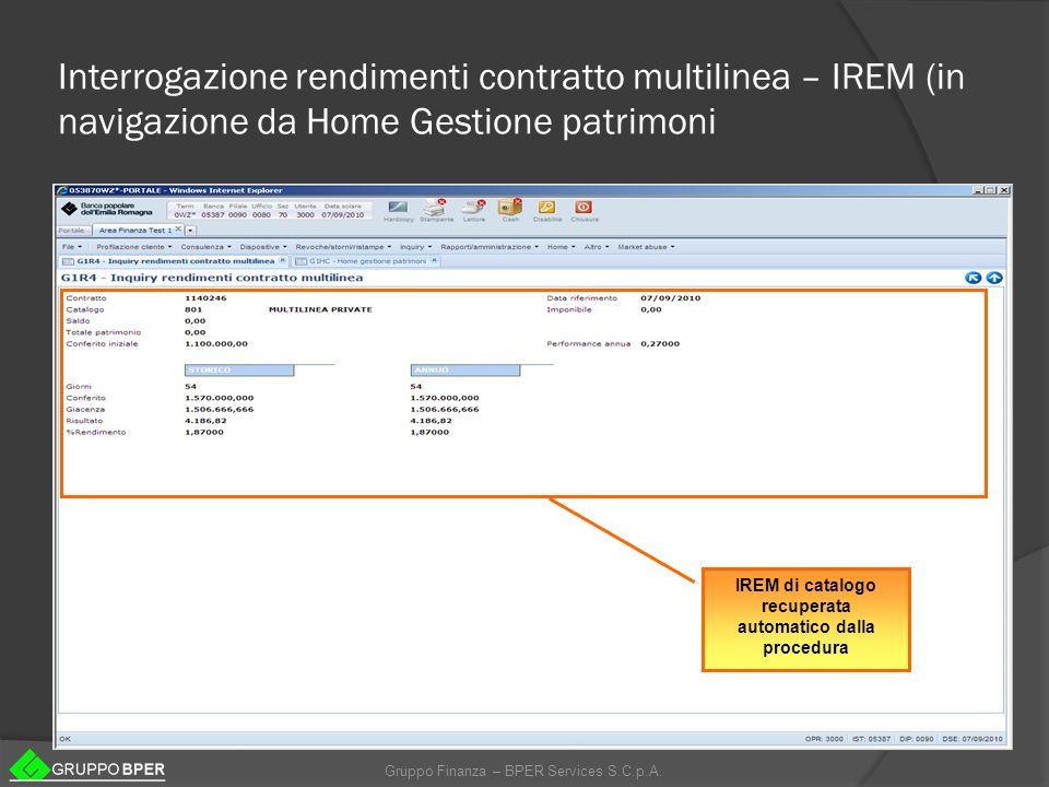 IREM di catalogo recuperata automatico dalla procedura